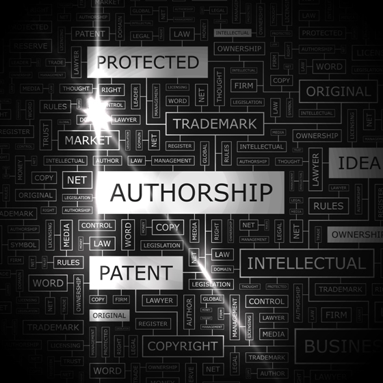 AUTHORSHIP. Word cloud illustration. Tag cloud concept collage.